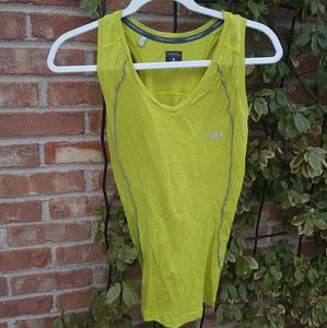 Icebreaker chartreuse flower wool tank top Small